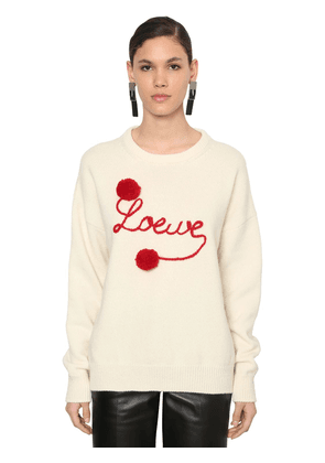 Logo Embroidered Wool Knit Sweater