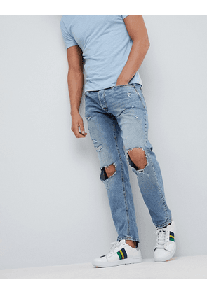 Jack & Jones Intelligence Jeans In Comfort Fit With Open Rip Details