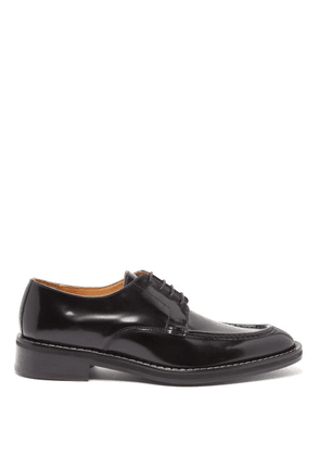 Ami - Point Toe Leather Derby Shoes - Mens - Black