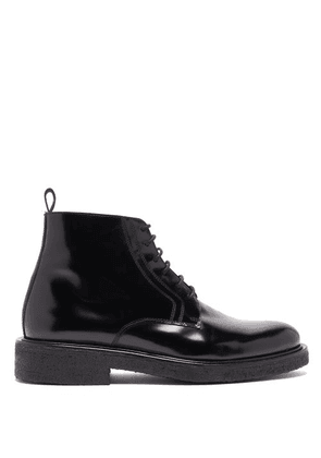 Ami - Polished Lace Up Leather Boots - Mens - Black