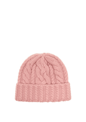 Ami - Cable Knit Wool Beanie Hat - Mens - Pink