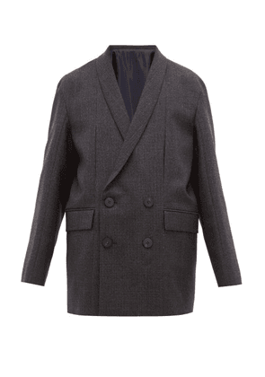 Wooyoungmi - Wool Tie Back Double Breasted Jacket - Mens - Navy