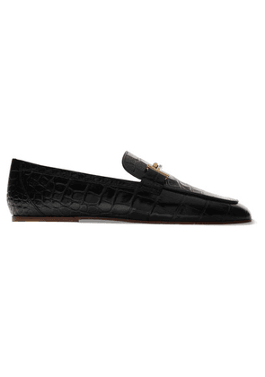Tod's - Embellished Glossed Croc-effect Leather Loafers - Black