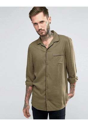 ASOS Viscose Shirt In Khaki With Revere Collar And Piping In Regular Fit