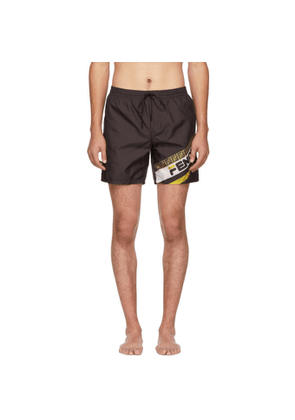 Fendi Black Fendi Mania Tech Swim Shorts