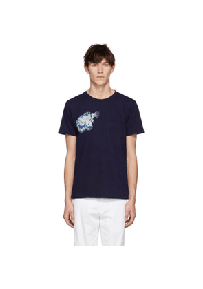 Blue Blue Japan SSENSE Exclusive Indigo Tiger Face T-Shirt