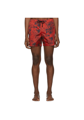 Moncler Red Palm Tree Swim Shorts