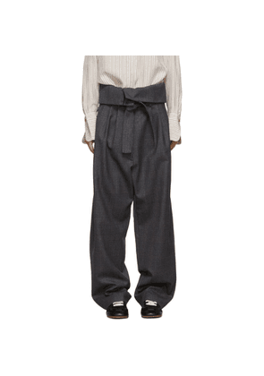 Loewe Grey Belted Pleated Trousers