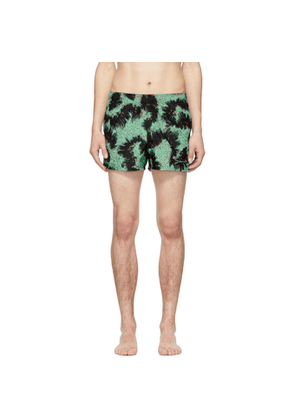 Givenchy Black and Green Printed Swim Shorts