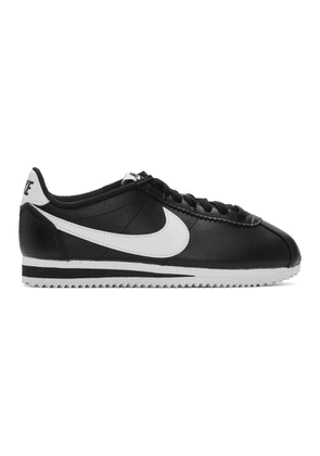 Nike Black and White Leather Classic Cortez Sneakers