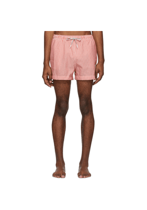Thom Browne Red and White Striped Seersucker Drawcord Shorts