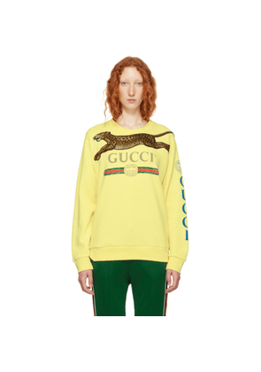 Gucci Yellow Embroidered Leopard Logo Sweater