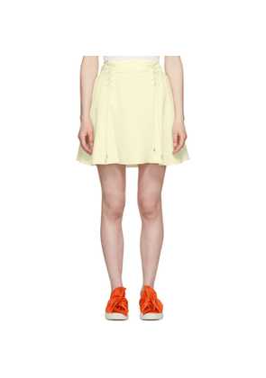 Carven Off-White Crepe Lace-Up Flared Miniskirt
