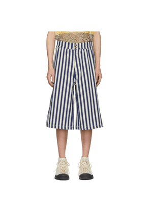 Loewe Navy and Off-White Stripe Shorts