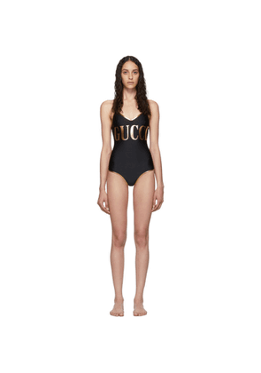 Gucci Black and Gold Logo One-Piece Swimsuit