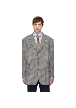 Gucci White and Black Houndstooth Formal Blazer