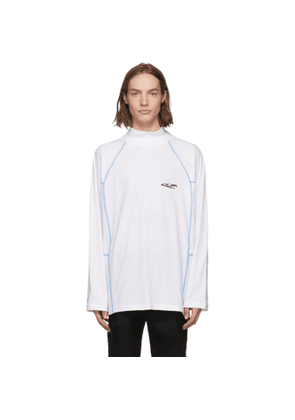 Calvin Klein 205W39NYC White Scuba Mock Neck Long Sleeve T-Shirt
