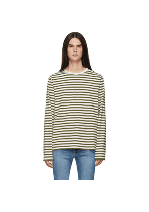 Frame Off-White and Khaki Stripe Classic Long Sleeve T-Shirt