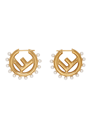Fendi Gold F Is Fendi Pearl Earrings