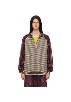 Gucci Brown Plaid Embroidered Track Jacket