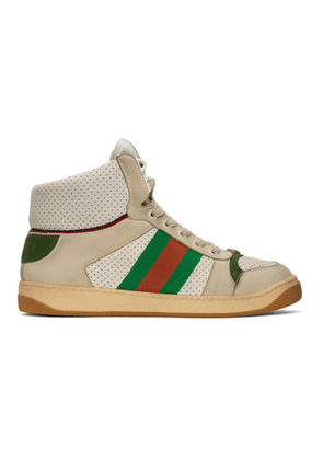6509dd8dd ... Webbing-trimmed Distressed Leather And Monogrammed Canvas High-top  Sneakers - Off-white. $872. Gucci White Screener High-Top Sneakers