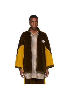 Gucci Brown and Yellow Chenille Track Jacket