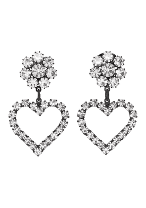 Ashley Williams Black and Transparent Flower Heart Clip-On Earrings