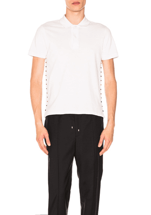 Valentino Studded Polo in White - White. Size L (also in XS,S).