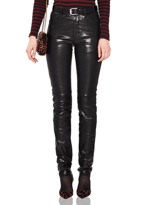 Saint Laurent Mid Rise Leather Pants in Black - Black. Size 36 (also in 42).