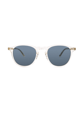 Garrett Leight Hampton 46 in Glass & Blue Smoke - White. Size all.
