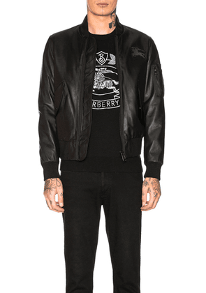 Burberry Sandford Leather Bomber Jacket in Black - Black. Size 40 (also in 42).