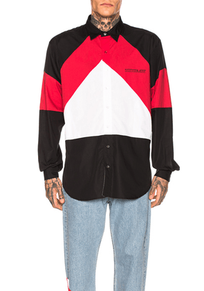 VETEMENTS Tracksuit Shirt in Black & Red & White - Black,Red,White. Size L (also in M,XL).