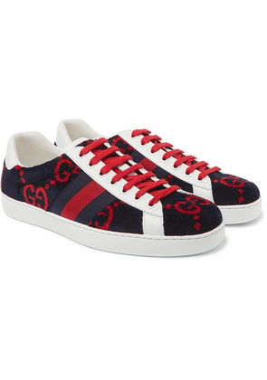 744a0edfd Gucci | Jbg Webbing-trimmed Leather And Suede Sneakers | Navy ...