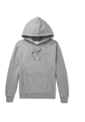AMI - Logo-embroidered Loopback Cotton-jersey Hoodie - Gray