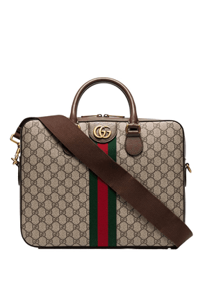 Gucci GG Supreme monogram briefcase - Brown