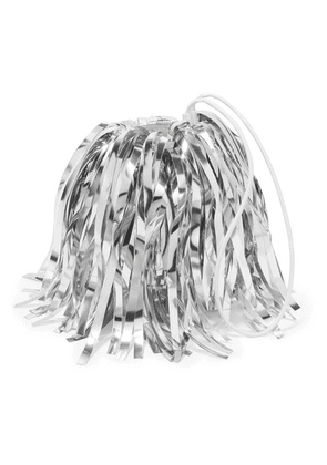 Off-White - Metallic Fringed Faux Suede And Pvc Clutch - Silver