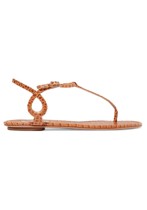 Aquazzura - Almost Bare Croc-effect Leather Sandals - Tan