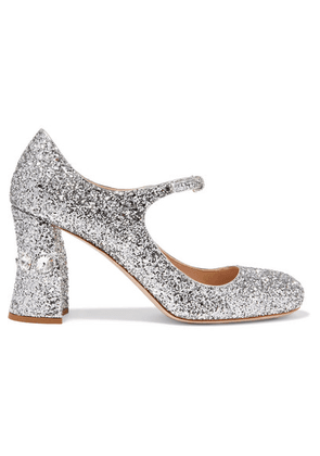Miu Miu - Crystal-embellished Glittered-leather Mary Jane Pumps - Silver