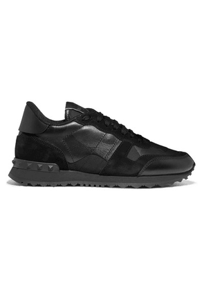 Valentino - Valentino Garavani Rockrunner Leather And Suede-trimmed Camouflage-print Canvas Sneakers - Black