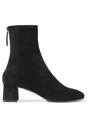 Aquazzura - Saint Honoré Suede Sock Boots - Black