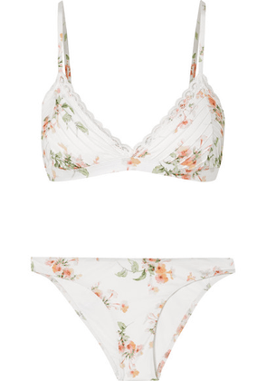 Zimmermann - Heathers Lace-trimmed Floral-print Triangle Bikini - White