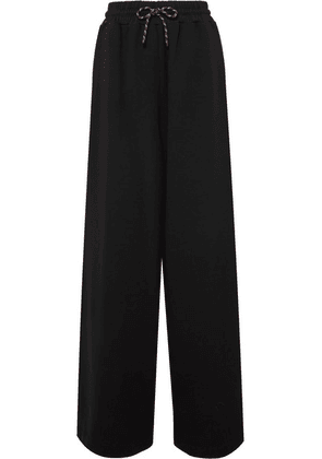 Dries Van Noten - Cotton-jersey Wide-leg Track Pants - Black