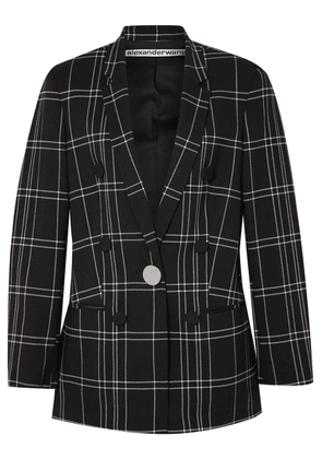 Alexander Wang - Leather-trimmed Checked Woven Blazer - Black