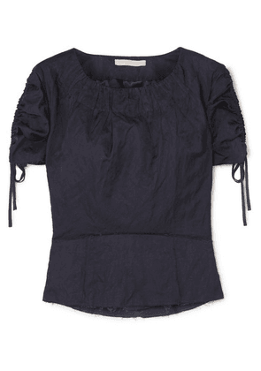 Brock Collection - Ruched Grosgrain-trimmed Crinkled-twill Top - Navy