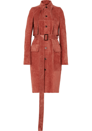 Rick Owens - Forked Suede Trench Coat - Pink