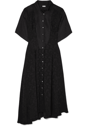 Loewe - Asymmetric Paneled Satin-jacquard And Linen Midi Dress - Black