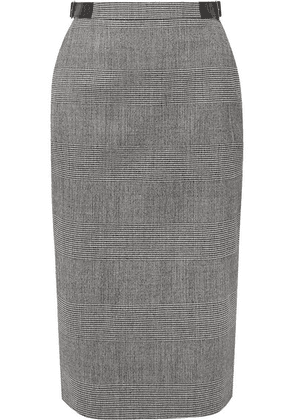 Altuzarra - Bolan Leather-trimmed Prince Of Wales Checked Wool-blend Skirt - Gray