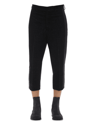 Cotton Velvet Cropped Pants W/side Band