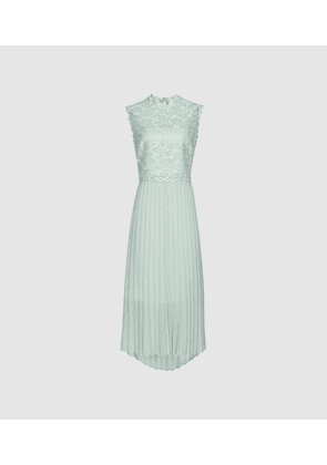 Reiss Aideen - Lace Detail Pleated Midi Dress in Sage Green, Womens, Size 6