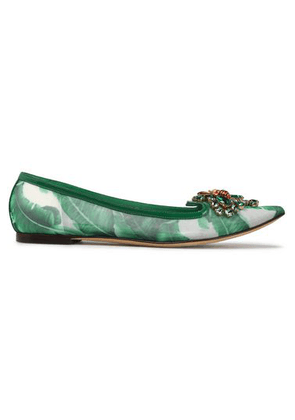 Dolce & Gabbana Crystal-embellished Printed Mesh Point-toe Flats Woman Green Size 35.5